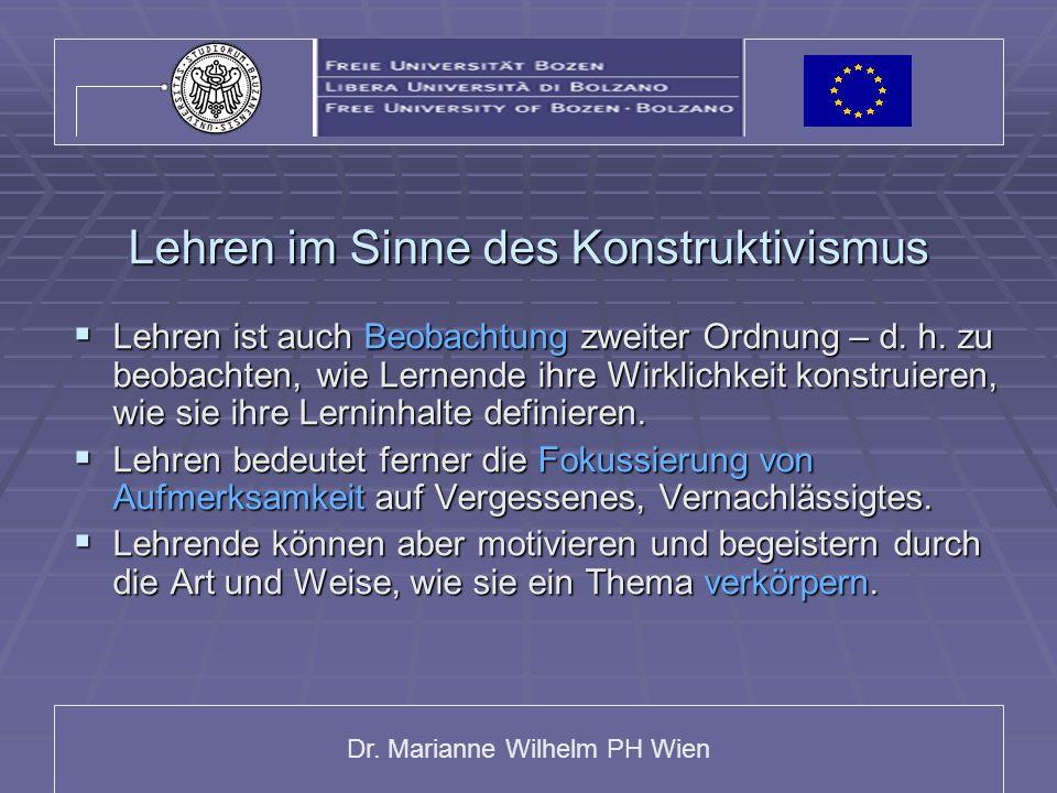 Dr. Marianne Wilhelm PH Wien Lehren im Sinne des Konstruktivismus Lehren ist auch Beobachtung zweiter Ordnung – d. h. zu beobachten, wie Lernende ihre