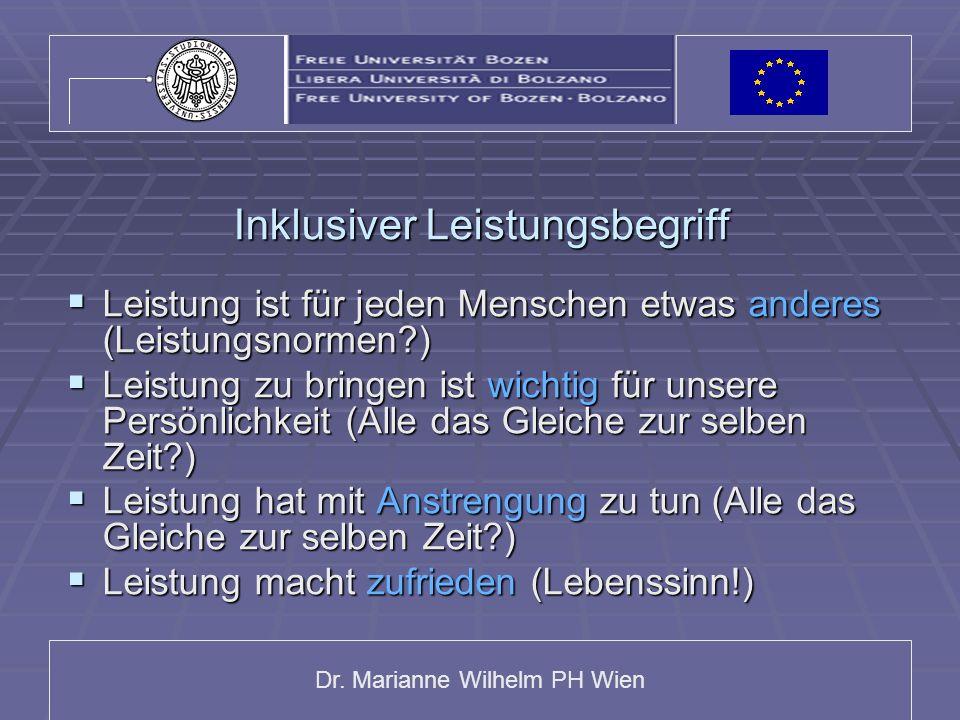 Dr. Marianne Wilhelm PH Wien Inklusiver Leistungsbegriff Leistung ist für jeden Menschen etwas anderes (Leistungsnormen?) Leistung ist für jeden Mensc