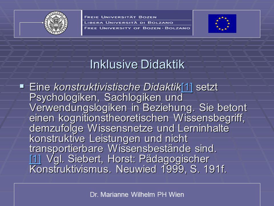 Dr. Marianne Wilhelm PH Wien Inklusive Didaktik Eine konstruktivistische Didaktik[1] setzt Psychologiken, Sachlogiken und Verwendungslogiken in Bezieh