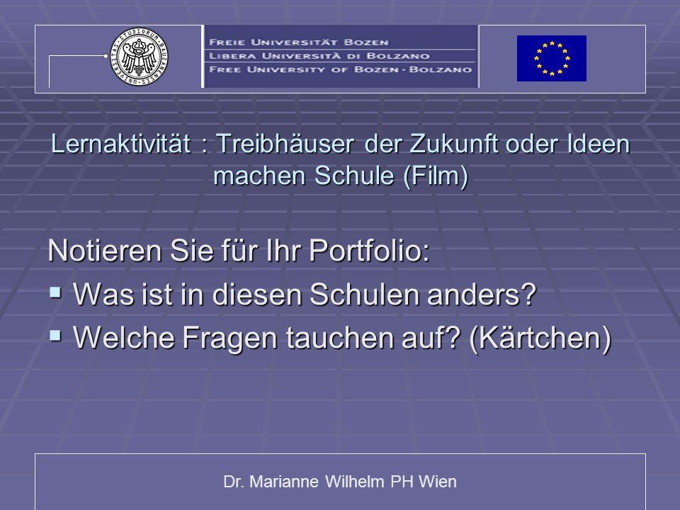 Dr. Marianne Wilhelm PH Wien Lernaktivität : Treibhäuser der Zukunft oder Ideen machen Schule (Film) Notieren Sie für Ihr Portfolio: Was ist in diesen