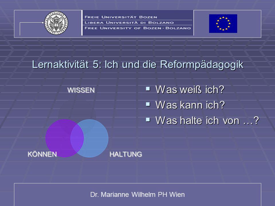 Dr. Marianne Wilhelm PH Wien Lernaktivität 5: Ich und die Reformpädagogik WISSEN HALTUNGKÖNNEN Was weiß ich? Was weiß ich? Was kann ich? Was kann ich?