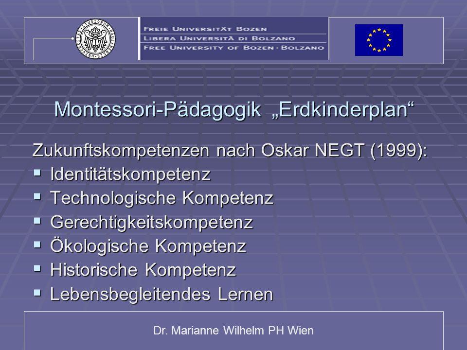 Dr. Marianne Wilhelm PH Wien Montessori-Pädagogik Erdkinderplan Zukunftskompetenzen nach Oskar NEGT (1999): Identitätskompetenz Identitätskompetenz Te