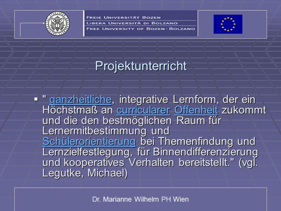 Dr. Marianne Wilhelm PH Wien Projektunterricht