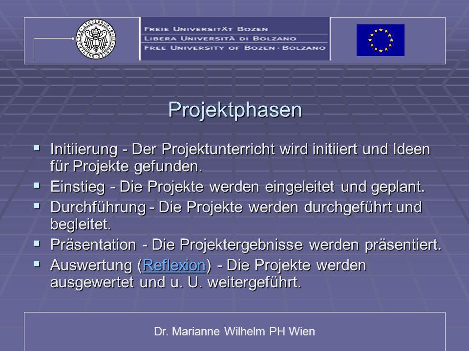 Dr. Marianne Wilhelm PH Wien Projektphasen Initiierung - Der Projektunterricht wird initiiert und Ideen für Projekte gefunden. Initiierung - Der Proje