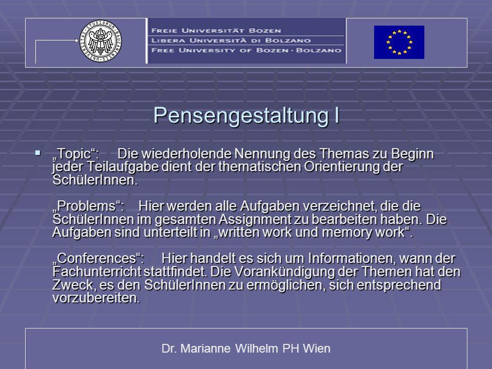 Dr. Marianne Wilhelm PH Wien Pensengestaltung I Topic: Die wiederholende Nennung des Themas zu Beginn jeder Teilaufgabe dient der thematischen Orienti