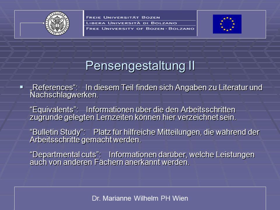 Dr. Marianne Wilhelm PH Wien Pensengestaltung II References: In diesem Teil finden sich Angaben zu Literatur und Nachschlagwerken. Equivalents: Inform