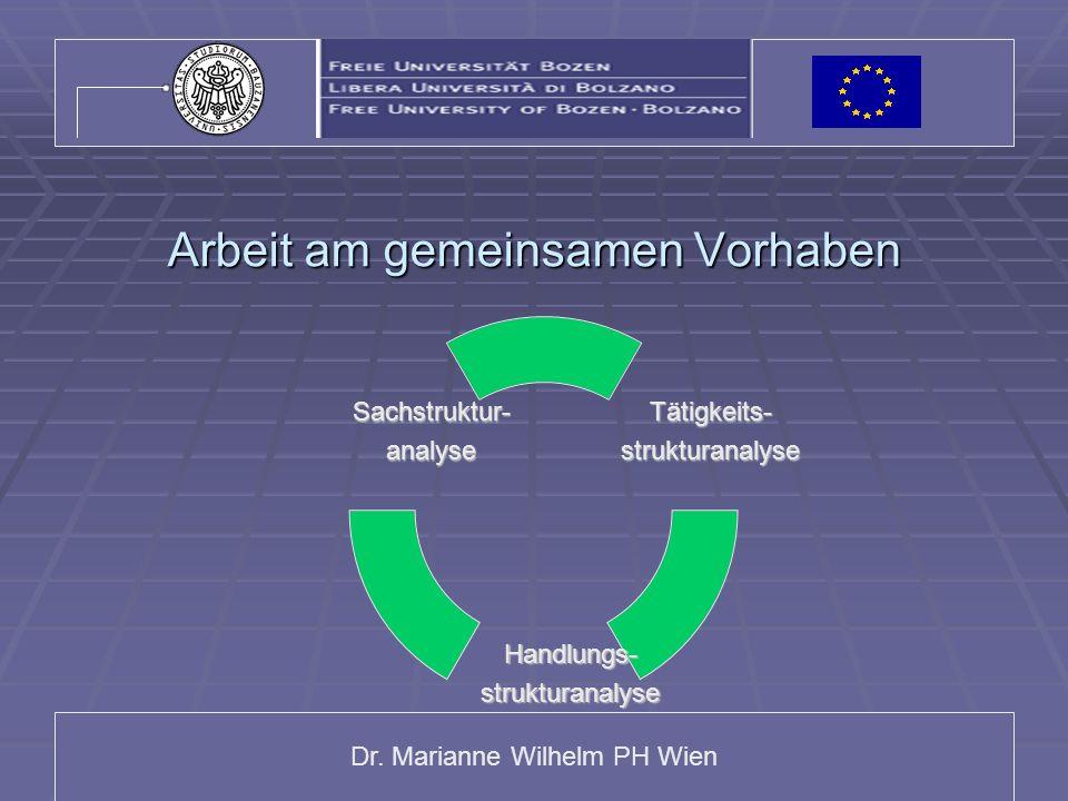 Dr. Marianne Wilhelm PH Wien Arbeit am gemeinsamen Vorhaben Tätigkeits-strukturanalyse Handlungs-strukturanalyse Sachstruktur-analyse