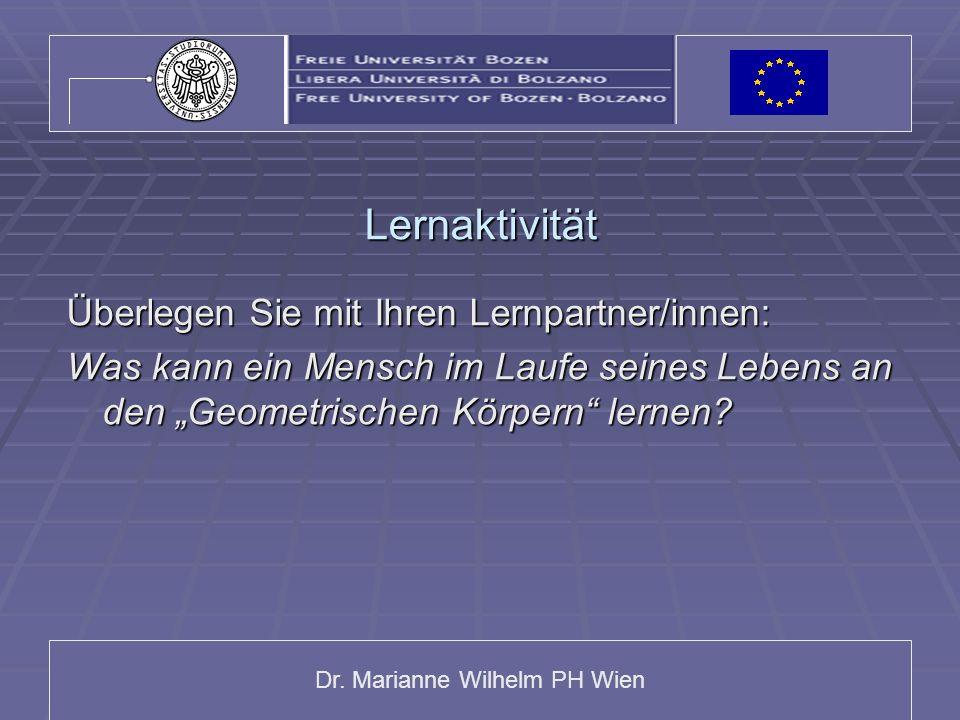 Dr. Marianne Wilhelm PH Wien Lernaktivität Überlegen Sie mit Ihren Lernpartner/innen: Was kann ein Mensch im Laufe seines Lebens an den Geometrischen