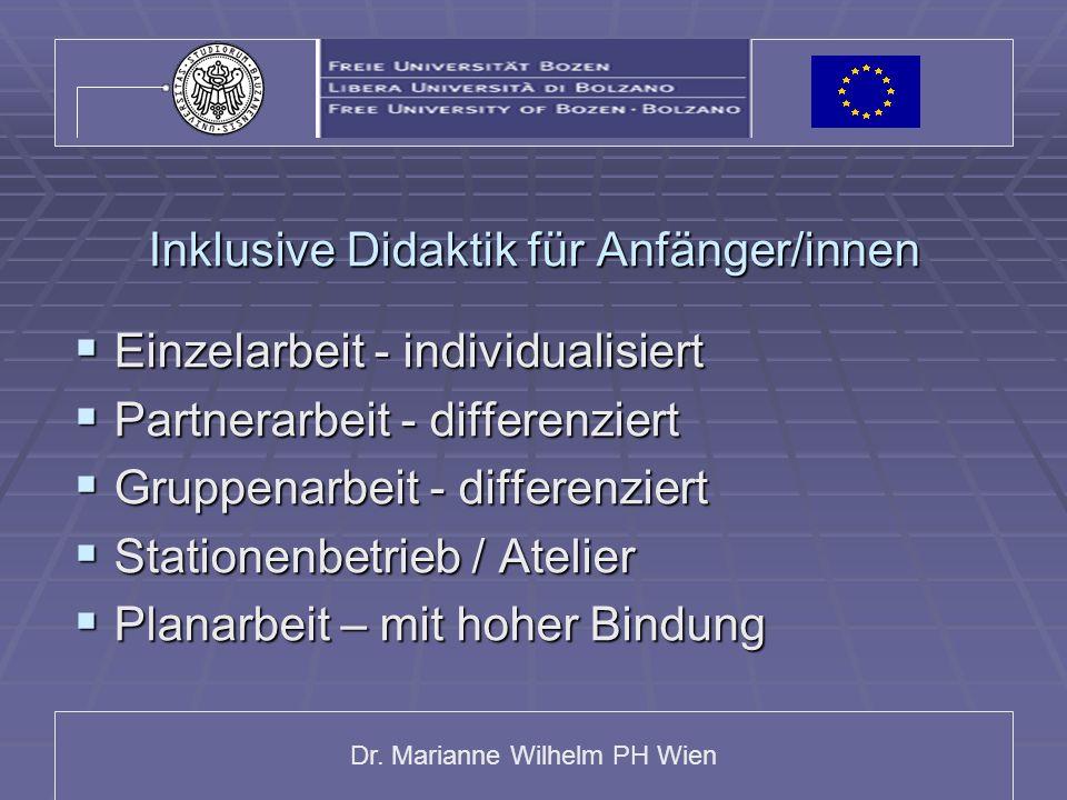 Dr. Marianne Wilhelm PH Wien Inklusive Didaktik für Anfänger/innen Einzelarbeit - individualisiert Einzelarbeit - individualisiert Partnerarbeit - dif