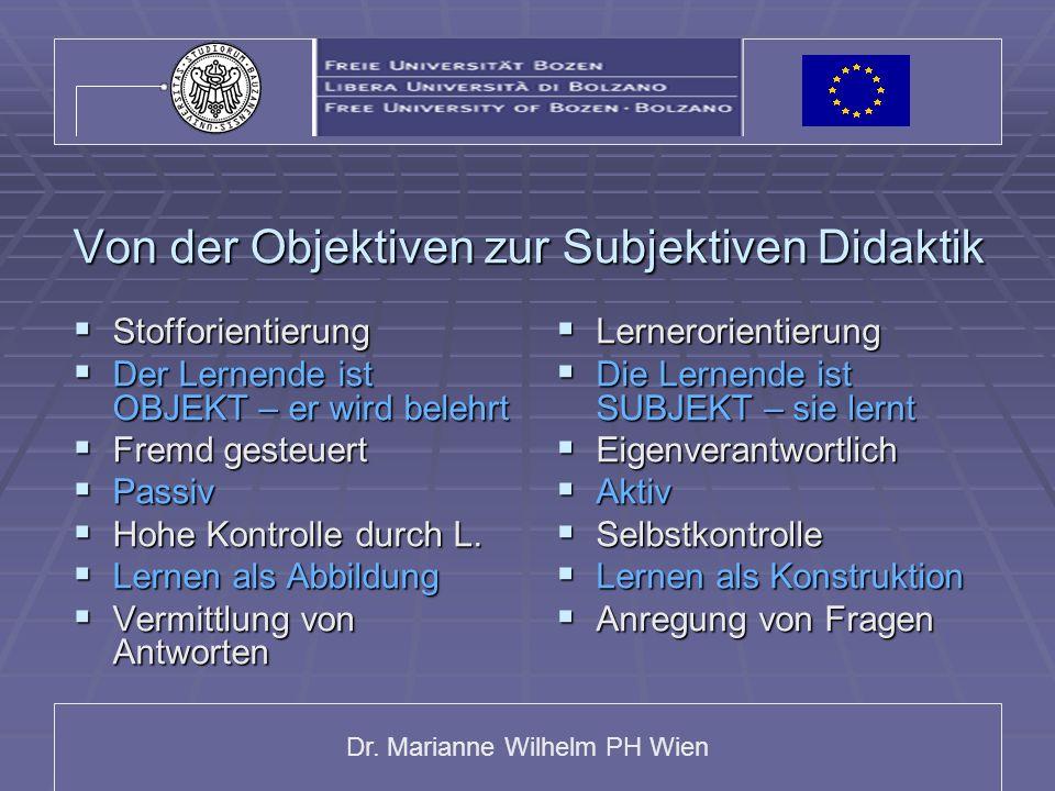 Dr. Marianne Wilhelm PH Wien Von der Objektiven zur Subjektiven Didaktik Stofforientierung Stofforientierung Der Lernende ist OBJEKT – er wird belehrt
