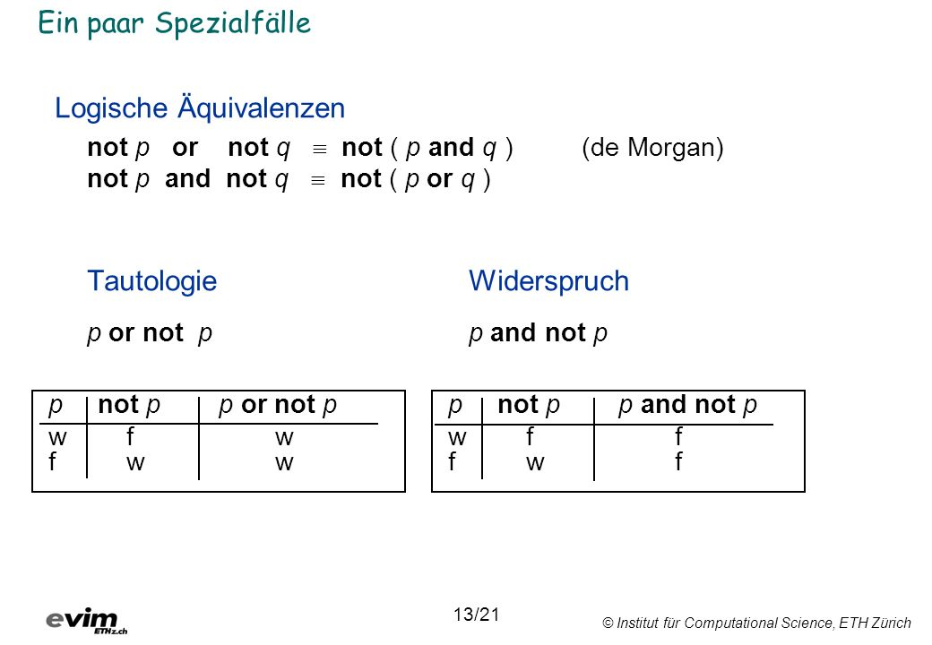 © Institut für Computational Science, ETH Zürich Ein paar Spezialfälle Logische Äquivalenzen not p or not q not ( p and q ) (de Morgan) not p and not q not ( p or q ) TautologieWiderspruch p or not pp and not p pnot p p or not p wf w fw w pnot p p and not p wf f fw f 13/21