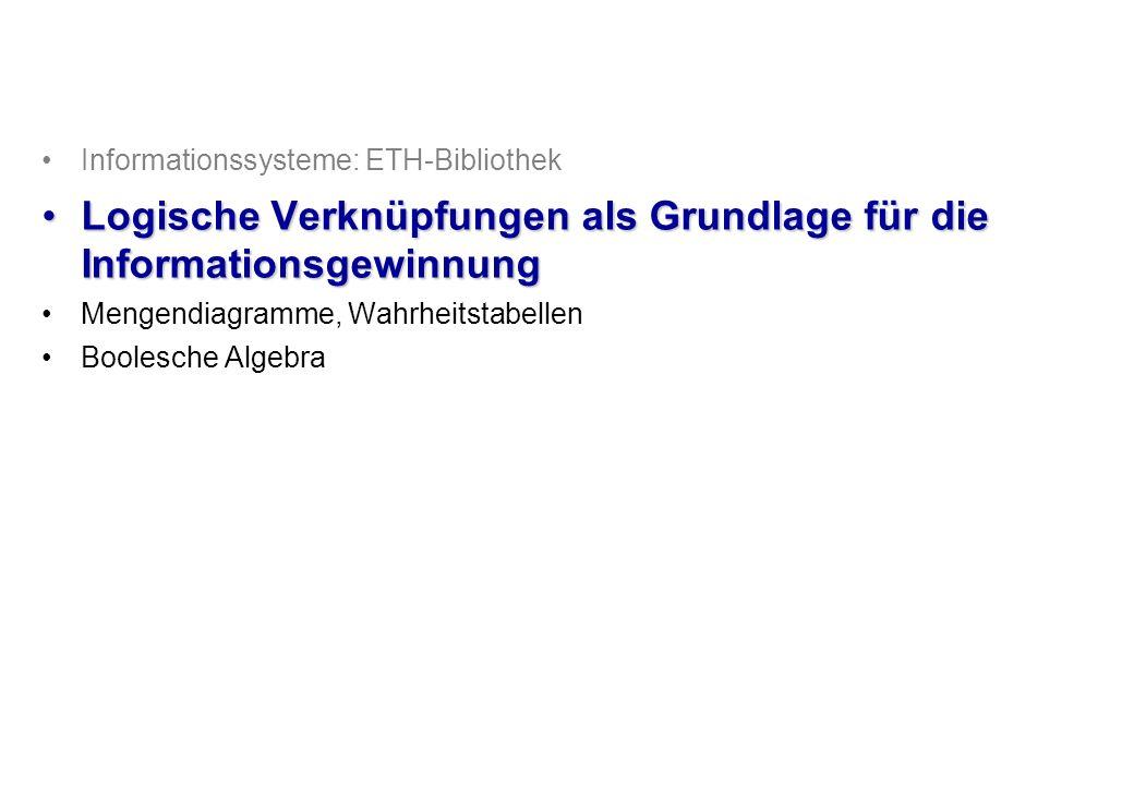 © Institut für Computational Science, ETH Zürich Verifizierung logischer Ausdrücke 21/21 AB((A B) + (A ¬B)) + (¬A ¬B) 1111111001000 1010011111001 0100100000100 0000000011111 Schritt:12151316141 ABA + ¬B 11110 10111 01000 00011 Schritt:121 Reihenfolge: Aussage Logischer Ausdruck (Symbole) Boolesche Algebra Ausdruck evaluieren 1.