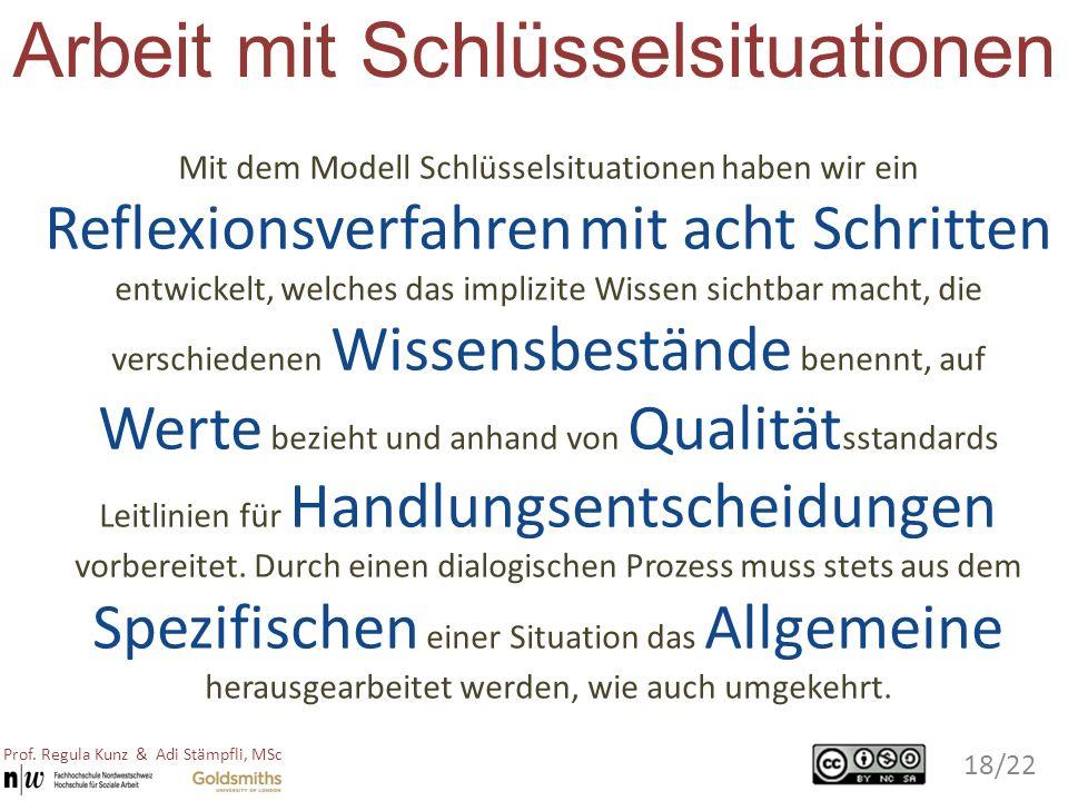 Arbeit mit Schlüsselsituationen Mit dem Modell Schlüsselsituationen haben wir ein Reflexionsverfahren mit acht Schritten entwickelt, welches das impli