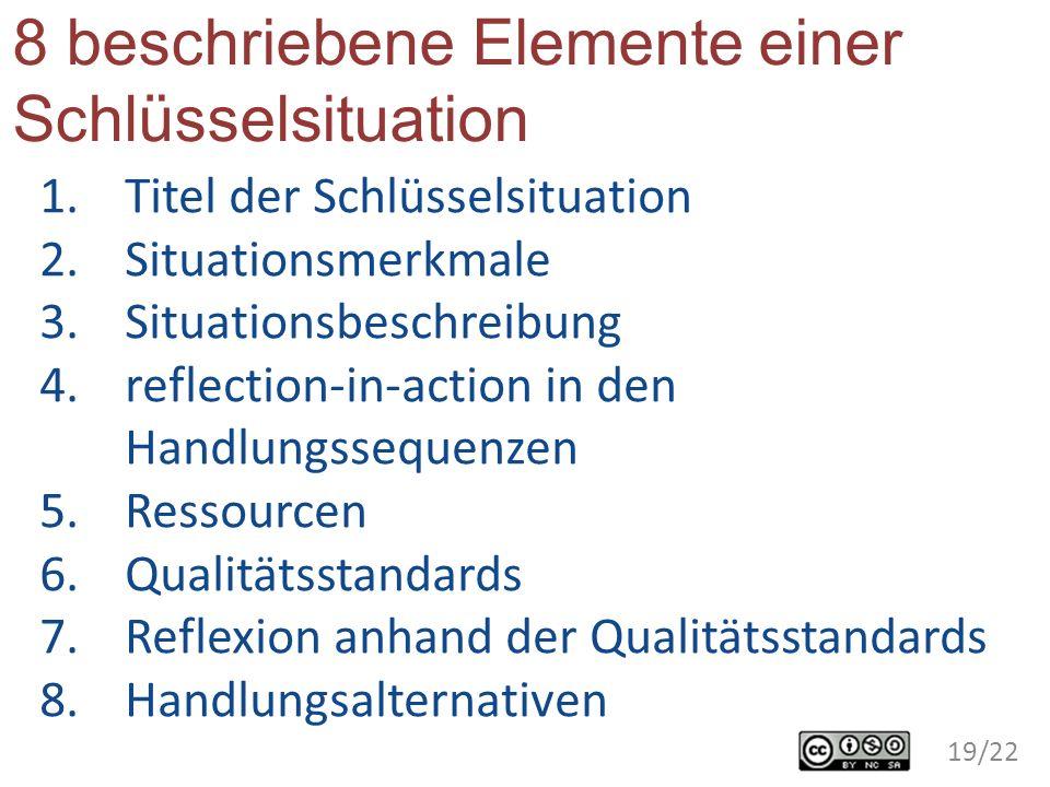 8 beschriebene Elemente einer Schlüsselsituation 1.Titel der Schlüsselsituation 2.Situationsmerkmale 3.Situationsbeschreibung 4.reflection-in-action i