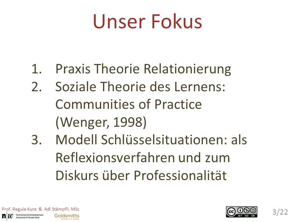 Unser Fokus 1.Praxis Theorie Relationierung 2.Soziale Theorie des Lernens: Communities of Practice (Wenger, 1998) 3.Modell Schlüsselsituationen: als R