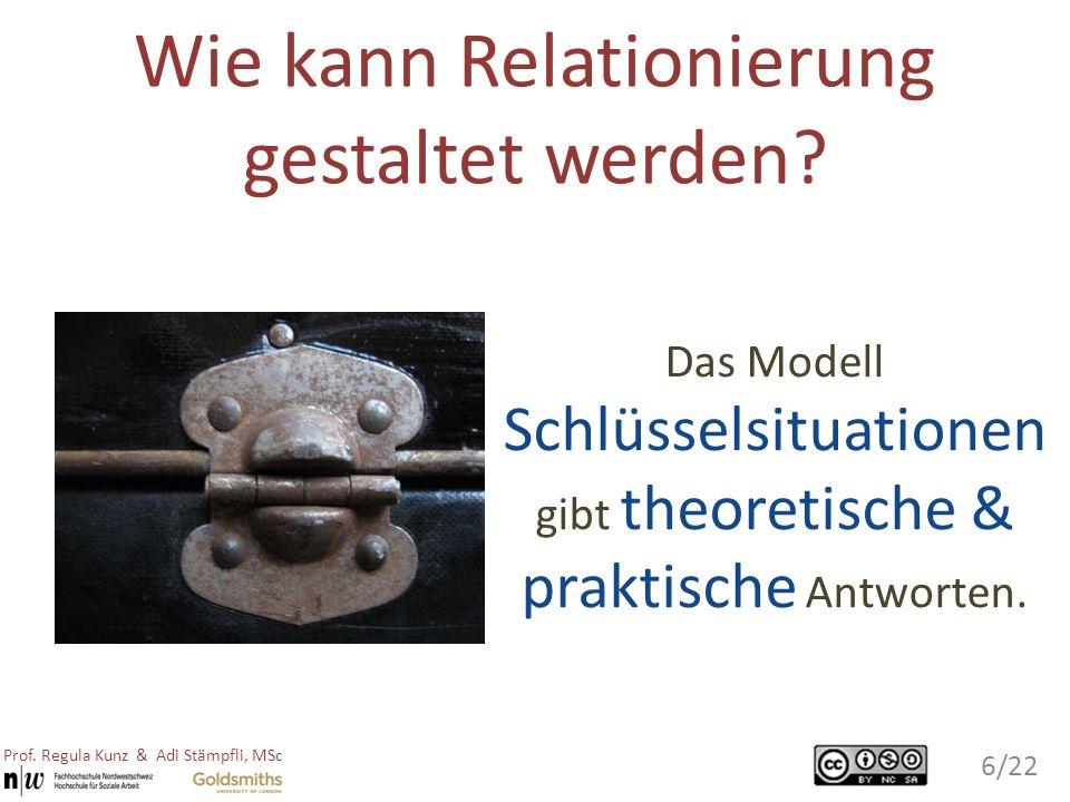 Das Modell Schlüsselsituationen gibt theoretische & praktische Antworten. Wie kann Relationierung gestaltet werden? 6/22 Prof. Regula Kunz & Adi Stämp