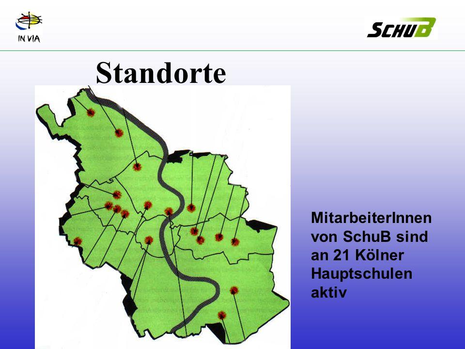Standorte MitarbeiterInnen von SchuB sind an 21 Kölner Hauptschulen aktiv