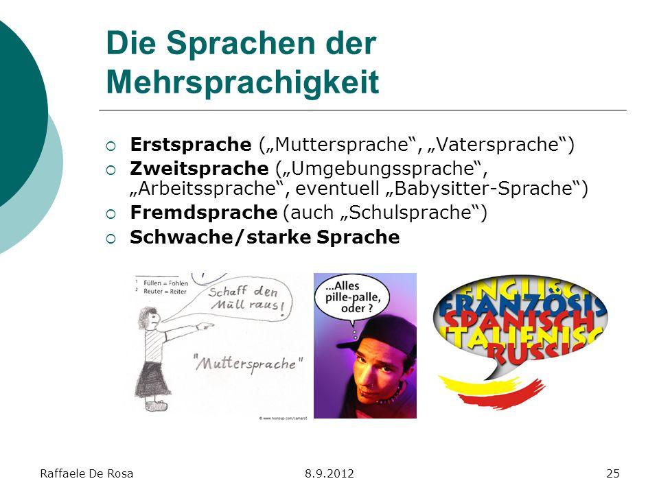 Raffaele De Rosa8.9.201225 Die Sprachen der Mehrsprachigkeit Erstsprache (Muttersprache, Vatersprache) Zweitsprache (Umgebungssprache, Arbeitssprache,