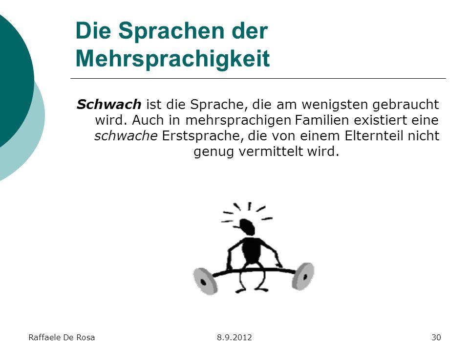 Raffaele De Rosa8.9.201230 Die Sprachen der Mehrsprachigkeit Schwach ist die Sprache, die am wenigsten gebraucht wird. Auch in mehrsprachigen Familien