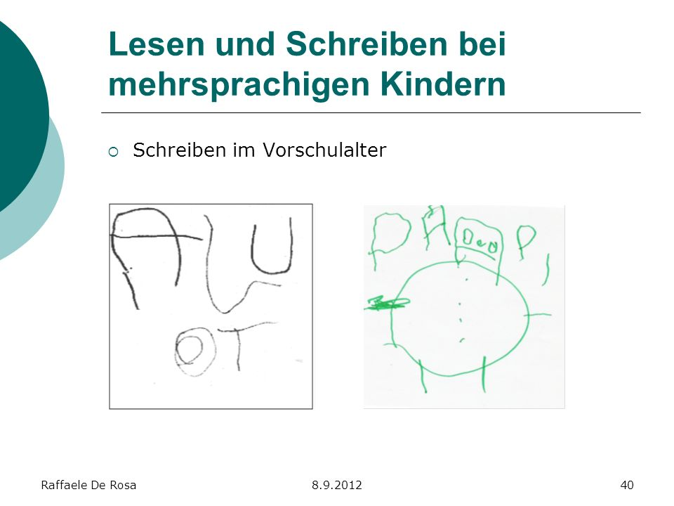Raffaele De Rosa8.9.201240 Lesen und Schreiben bei mehrsprachigen Kindern Schreiben im Vorschulalter