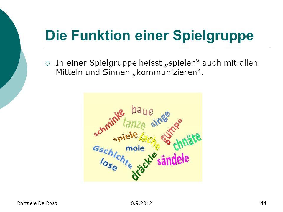 Raffaele De Rosa8.9.201244 Die Funktion einer Spielgruppe In einer Spielgruppe heisst spielen auch mit allen Mitteln und Sinnen kommunizieren.