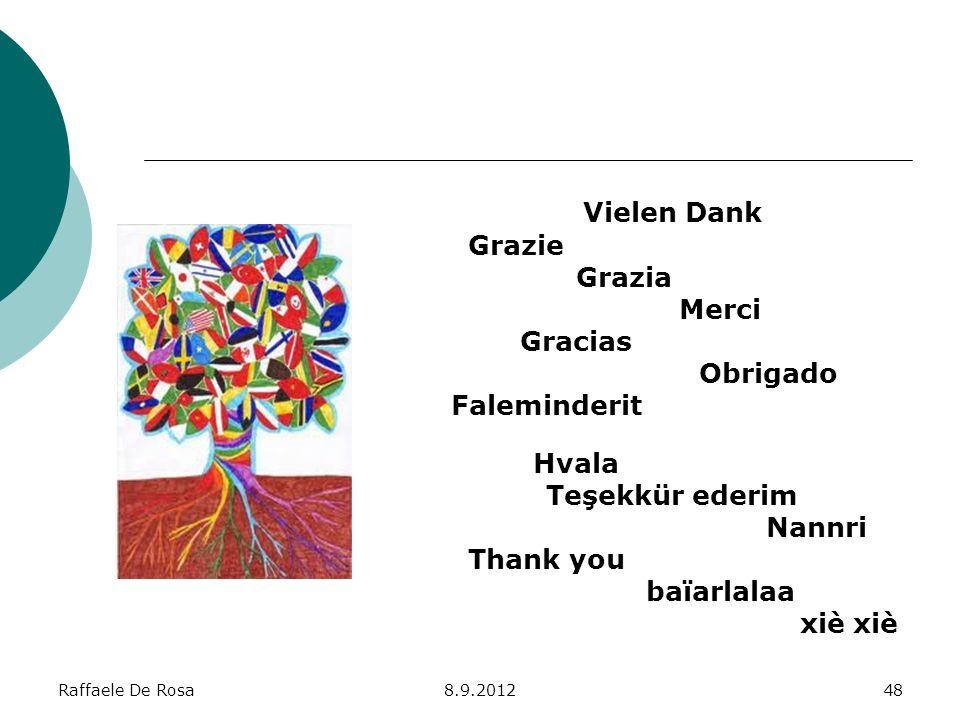 Raffaele De Rosa8.9.201248 Vielen Dank Grazie Grazia Merci Gracias Obrigado Faleminderit Hvala Teşekkür ederim Nannri Thank you baïarlalaa xiè xiè