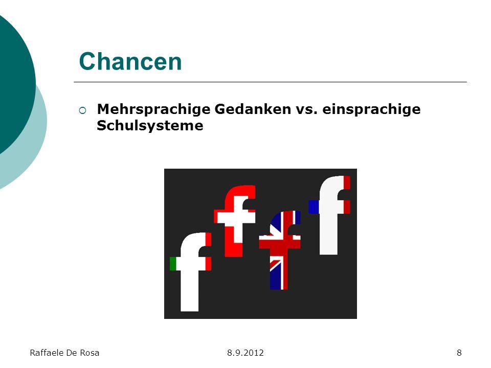 Raffaele De Rosa8.9.20128 Chancen Mehrsprachige Gedanken vs. einsprachige Schulsysteme