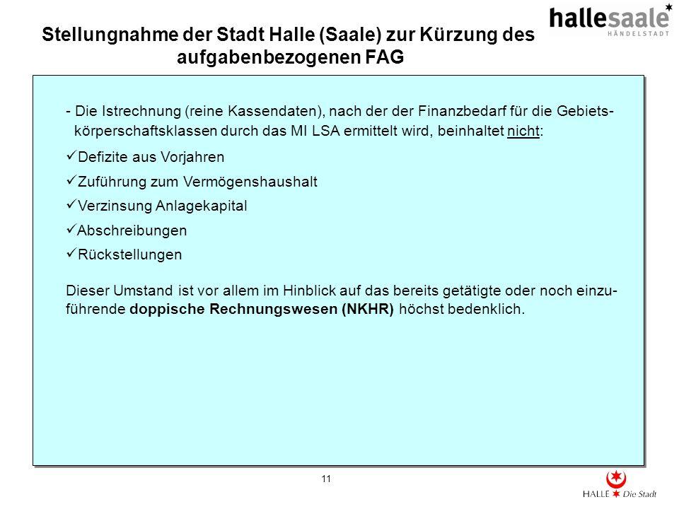 Stellungnahme der Stadt Halle (Saale) zur Kürzung des aufgabenbezogenen FAG 11 - Die Istrechnung (reine Kassendaten), nach der der Finanzbedarf für die Gebiets- körperschaftsklassen durch das MI LSA ermittelt wird, beinhaltet nicht: Defizite aus Vorjahren Zuführung zum Vermögenshaushalt Verzinsung Anlagekapital Abschreibungen Rückstellungen Dieser Umstand ist vor allem im Hinblick auf das bereits getätigte oder noch einzu- führende doppische Rechnungswesen (NKHR) höchst bedenklich.
