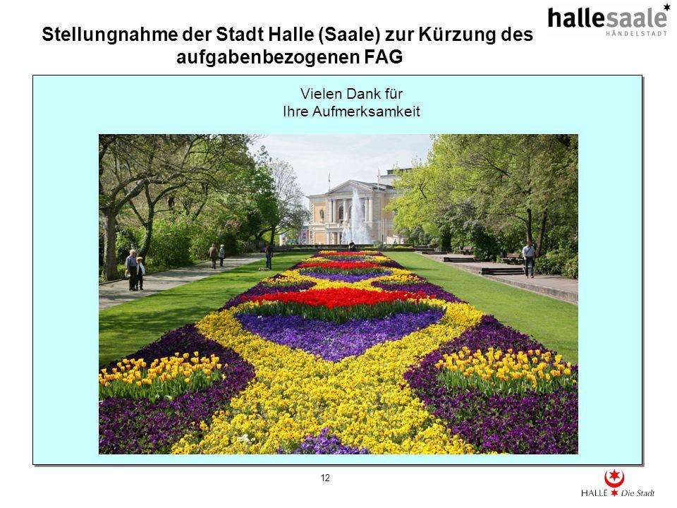 Stellungnahme der Stadt Halle (Saale) zur Kürzung des aufgabenbezogenen FAG 12 Vielen Dank für Ihre Aufmerksamkeit