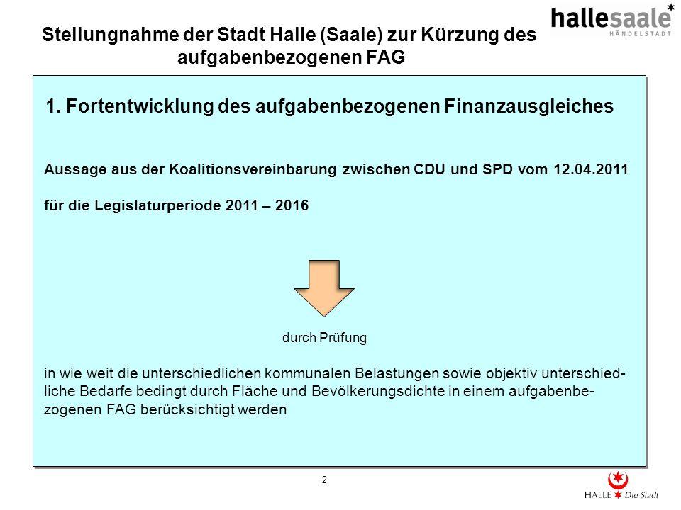 Stellungnahme der Stadt Halle (Saale) zur Kürzung des aufgabenbezogenen FAG 2 1. Fortentwicklung des aufgabenbezogenen Finanzausgleiches Aussage aus d