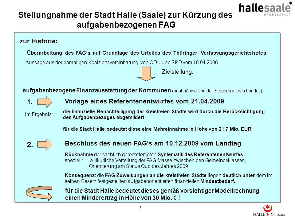 Stellungnahme der Stadt Halle (Saale) zur Kürzung des aufgabenbezogenen FAG 5 Überarbeitung des FAGs auf Grundlage des Urteiles des Thüringer Verfassu