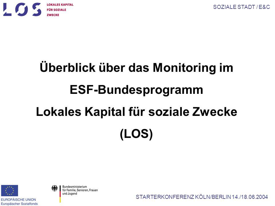 SOZIALE STADT / E&C STARTERKONFERENZ KÖLN/BERLIN 14./18.06.2004 Überblick über das Monitoring im ESF-Bundesprogramm Lokales Kapital für soziale Zwecke (LOS)
