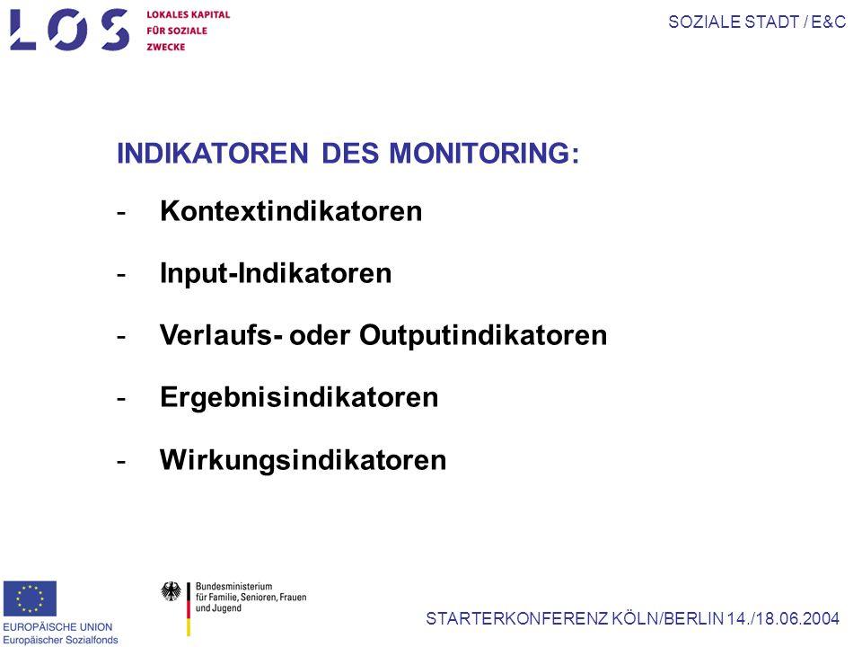SOZIALE STADT / E&C STARTERKONFERENZ KÖLN/BERLIN 14./18.06.2004 INDIKATOREN DES MONITORING: -Kontextindikatoren -Input-Indikatoren -Verlaufs- oder Outputindikatoren -Ergebnisindikatoren -Wirkungsindikatoren