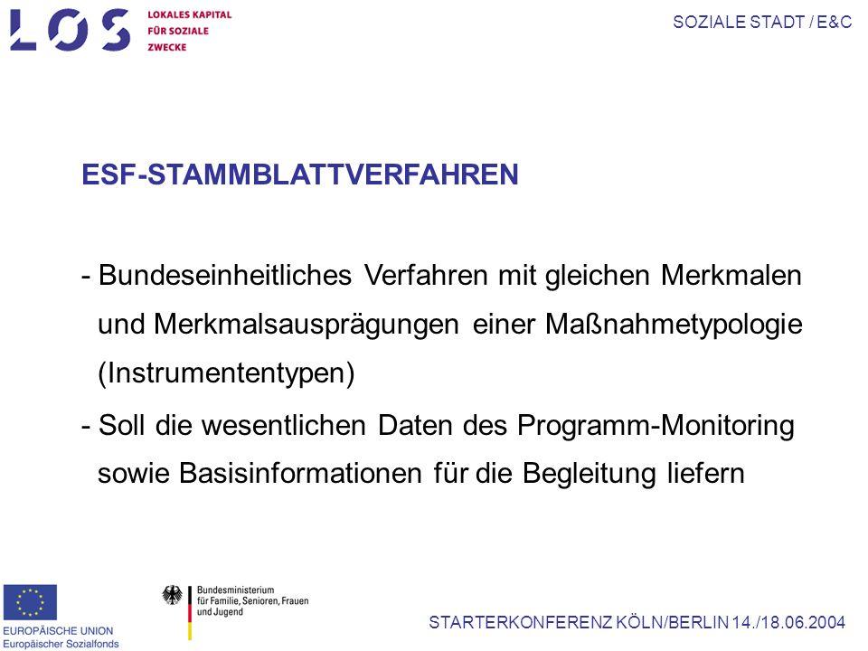 SOZIALE STADT / E&C STARTERKONFERENZ KÖLN/BERLIN 14./18.06.2004 ESF-STAMMBLATTVERFAHREN - Bundeseinheitliches Verfahren mit gleichen Merkmalen und Merkmalsausprägungen einer Maßnahmetypologie (Instrumententypen) - Soll die wesentlichen Daten des Programm-Monitoring sowie Basisinformationen für die Begleitung liefern