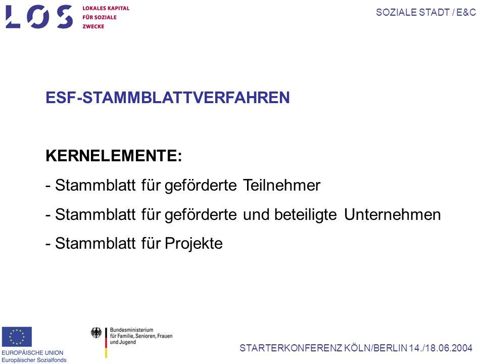 SOZIALE STADT / E&C STARTERKONFERENZ KÖLN/BERLIN 14./18.06.2004 ESF-STAMMBLATTVERFAHREN KERNELEMENTE: - Stammblatt für geförderte Teilnehmer - Stammblatt für geförderte und beteiligte Unternehmen - Stammblatt für Projekte