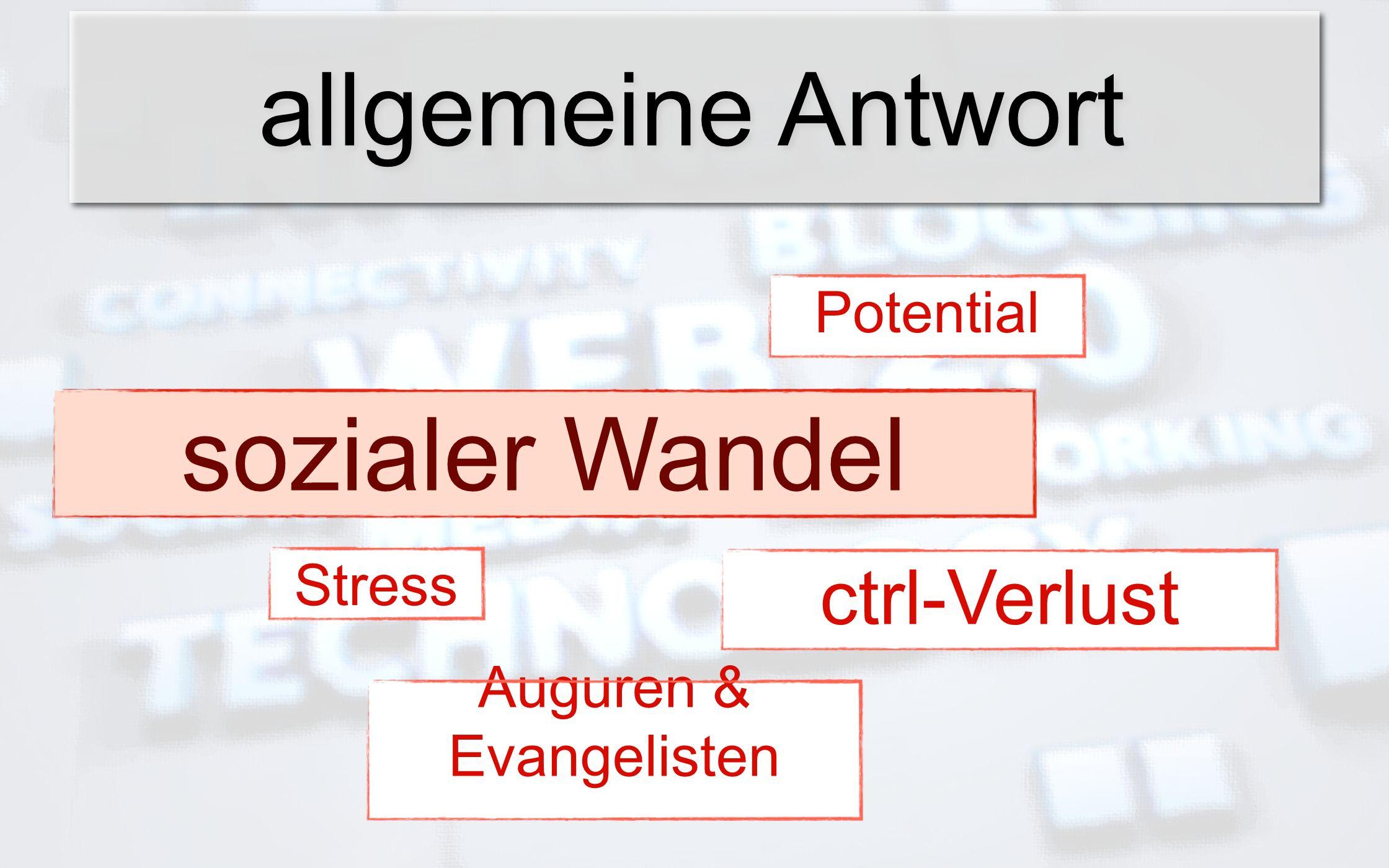 allgemeine Antwort sozialer Wandel ctrl-Verlust PotentialStress Auguren & Evangelisten