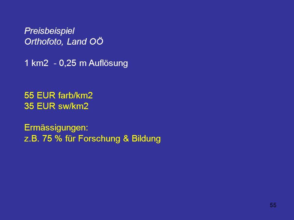 55 Preisbeispiel Orthofoto, Land OÖ 1 km2 - 0,25 m Auflösung 55 EUR farb/km2 35 EUR sw/km2 Ermässigungen: z.B. 75 % für Forschung & Bildung