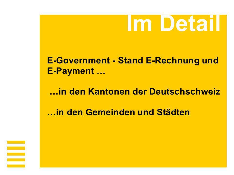 Im Detail E-Government - Stand E-Rechnung und E-Payment … …in den Kantonen der Deutschschweiz …in den Gemeinden und Städten