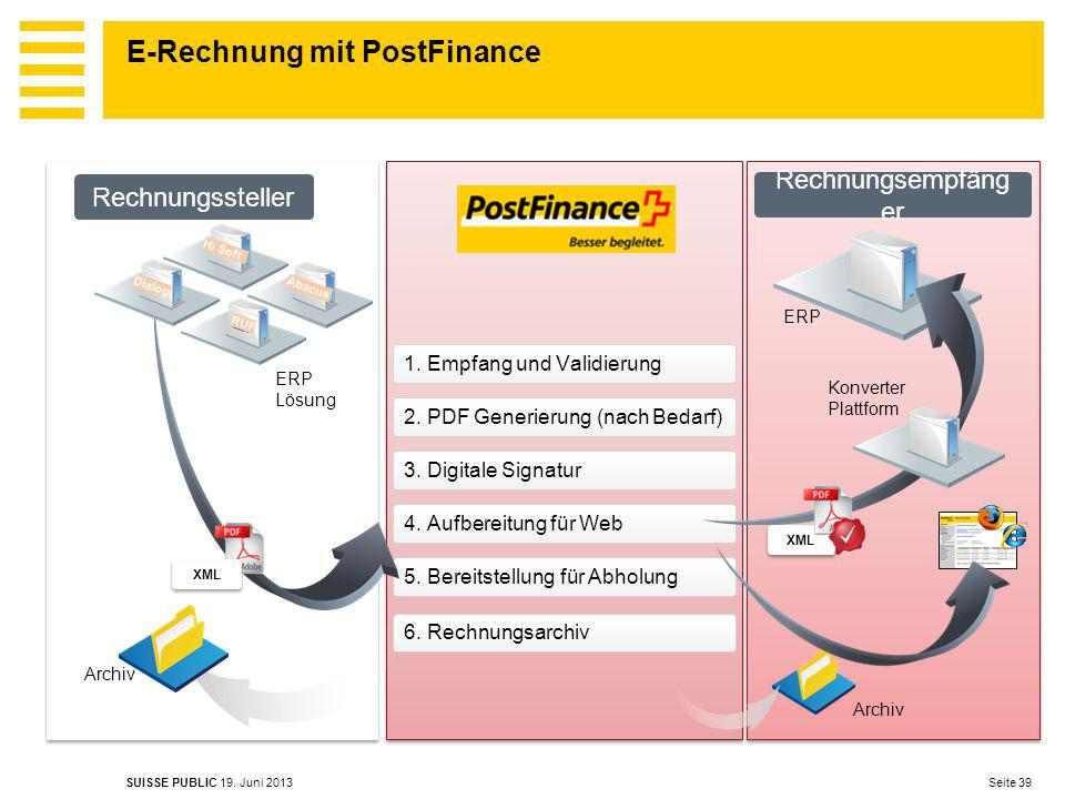 E-Rechnung mit PostFinance Seite 39 SUISSE PUBLIC 19.