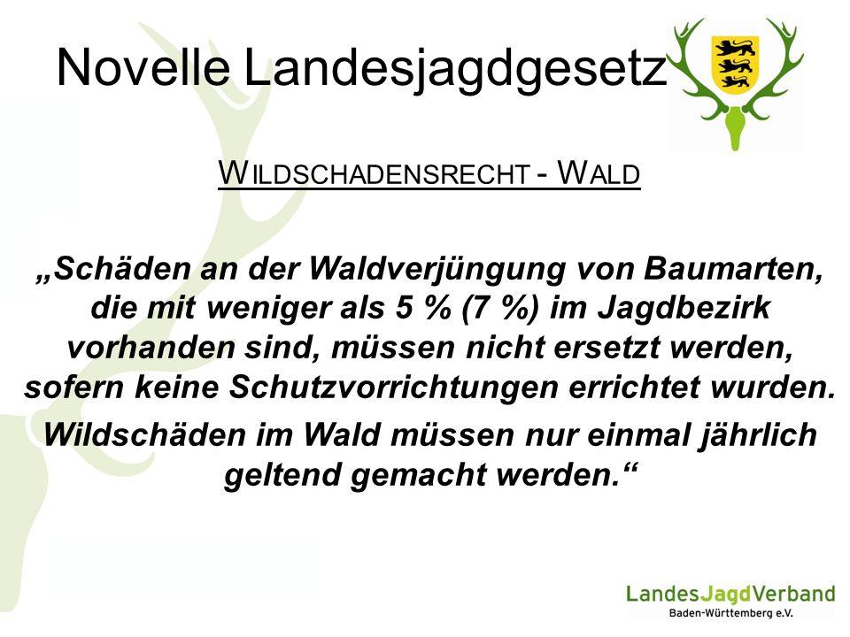 Novelle Landesjagdgesetz W ILDSCHADENSRECHT - W ALD Schäden an der Waldverjüngung von Baumarten, die mit weniger als 5 % (7 %) im Jagdbezirk vorhanden sind, müssen nicht ersetzt werden, sofern keine Schutzvorrichtungen errichtet wurden.