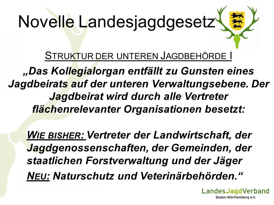 Novelle Landesjagdgesetz S TRUKTUR DER UNTEREN J AGDBEHÖRDE I Das Kollegialorgan entfällt zu Gunsten eines Jagdbeirats auf der unteren Verwaltungsebene.