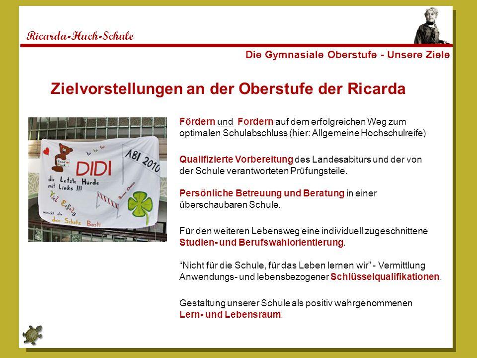 Ricarda-Huch-Schule Die Gymnasiale Oberstufe - Unsere Ziele Fördern und Fordern auf dem erfolgreichen Weg zum optimalen Schulabschluss (hier: Allgemei