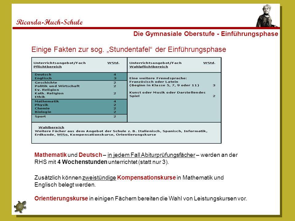 Ricarda-Huch-Schule Die Gymnasiale Oberstufe - Einführungsphase Einige Fakten zur sog. Stundentafel der Einführungsphase Mathematik und Deutsch – in j