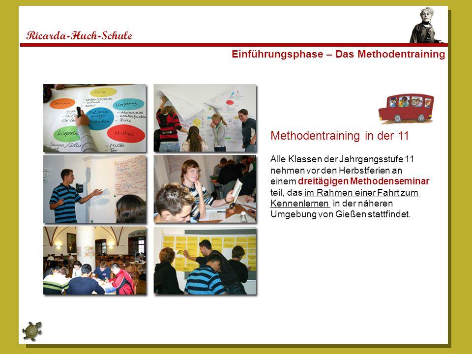 Ricarda-Huch-Schule Einführungsphase – Das Methodentraining Methodentraining in der 11 Alle Klassen der Jahrgangsstufe 11 nehmen vor den Herbstferien