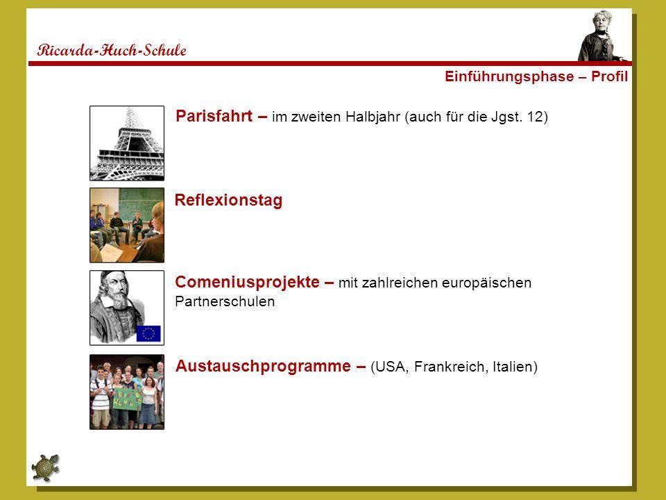 Ricarda-Huch-Schule Einführungsphase – Profil Parisfahrt – im zweiten Halbjahr (auch für die Jgst. 12) Reflexionstag Comeniusprojekte – mit zahlreiche