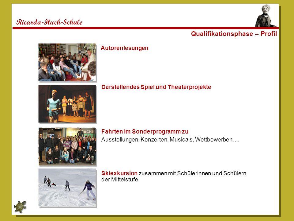 Ricarda-Huch-Schule Qualifikationsphase – Profil Autorenlesungen Darstellendes Spiel und Theaterprojekte Fahrten im Sonderprogramm zu Ausstellungen, K
