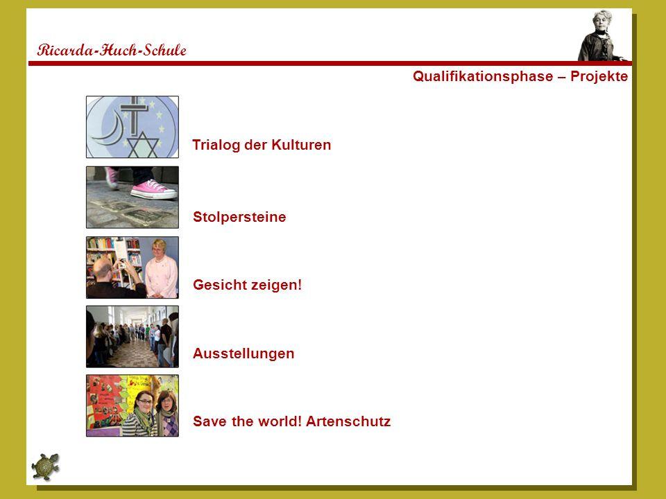 Ricarda-Huch-Schule Qualifikationsphase – Projekte Trialog der Kulturen Stolpersteine Gesicht zeigen! Ausstellungen Save the world! Artenschutz