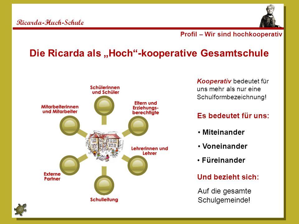 Ricarda-Huch-Schule Profil – Wir sind hochkooperativ Kooperativ bedeutet für uns mehr als nur eine Schulformbezeichnung! Die Ricarda als Hoch-kooperat