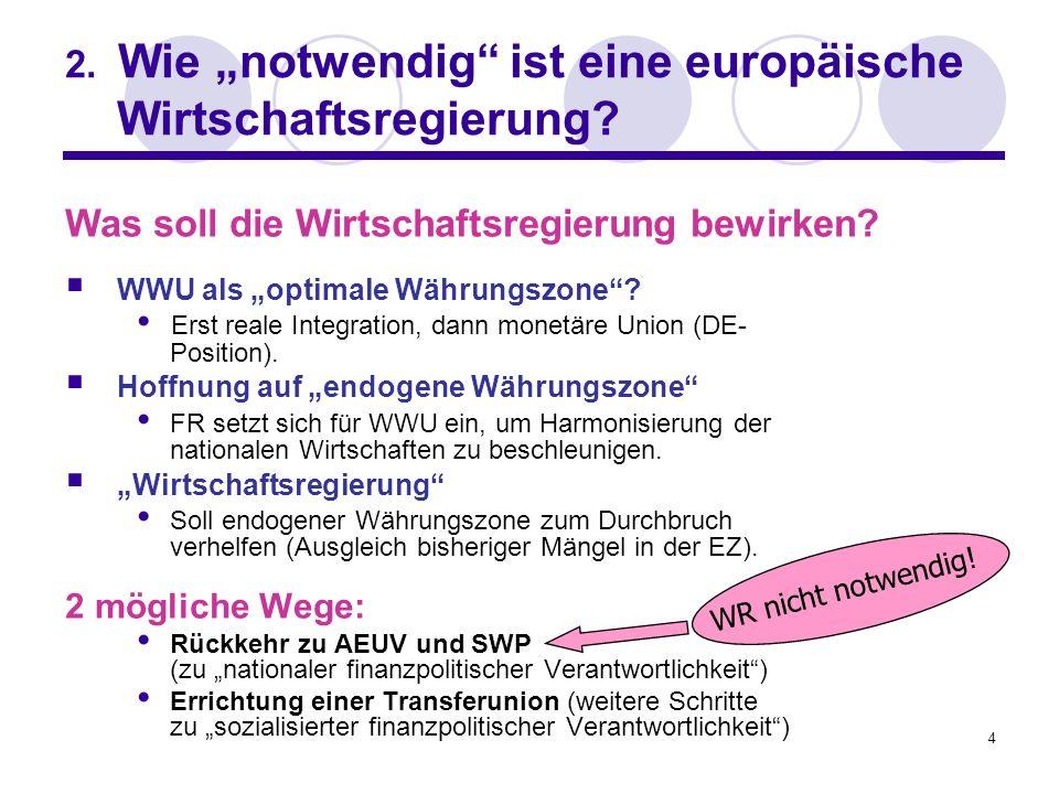 4 2. Wie notwendig ist eine europäische Wirtschaftsregierung? WWU als optimale Währungszone? Erst reale Integration, dann monetäre Union (DE- Position