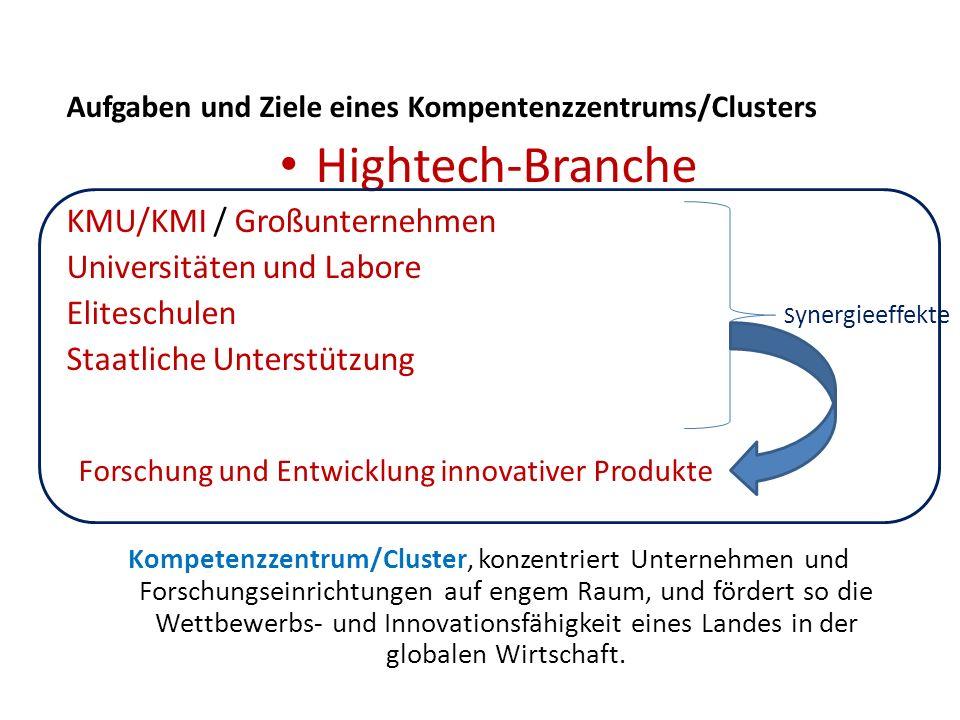 Aufgaben und Ziele eines Kompentenzzentrums/Clusters Hightech-Branche KMU/KMI / Großunternehmen Universitäten und Labore Eliteschulen Staatliche Unter